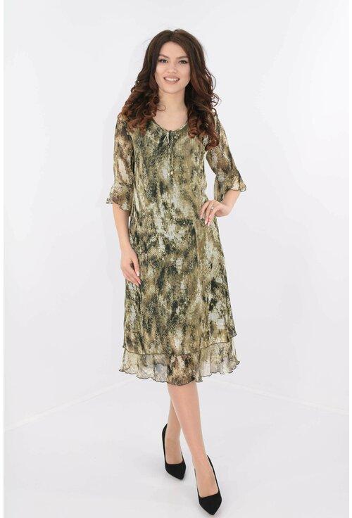 Rochie din voal olive cu print negru