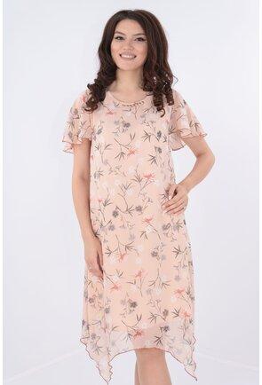 Rochie din voal roz pudra cu print floral si tiv asimetric