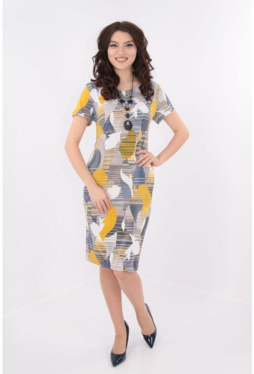 Rochie dreapta cu print abstract mustar