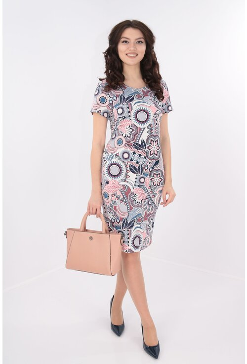 Rochie dreapta cu print abstract roz