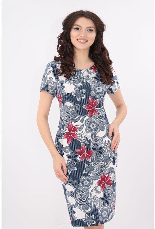 Rochie dreapta cu print floral bleumarin-rosu