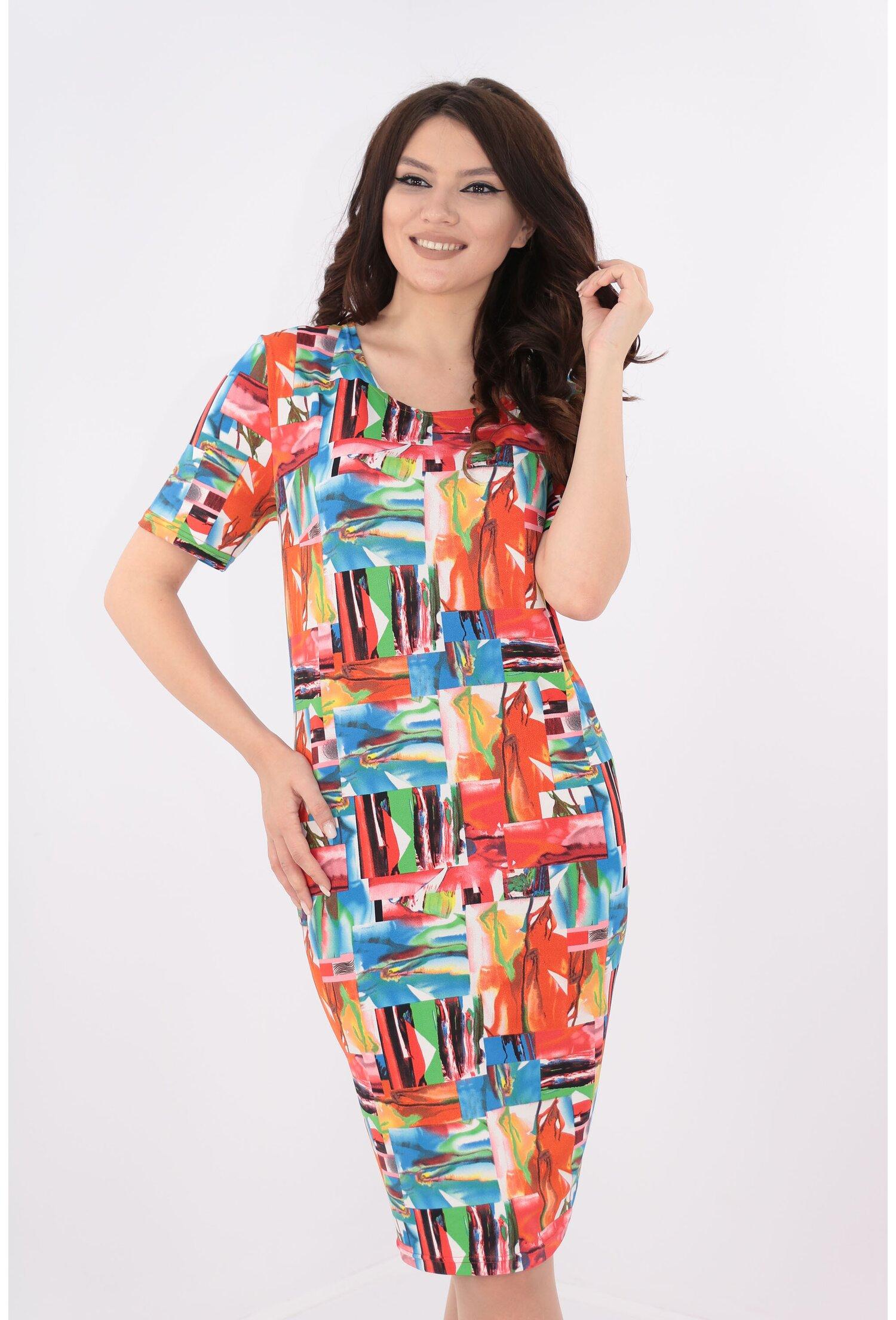 Rochie dreapta cu print multicolor