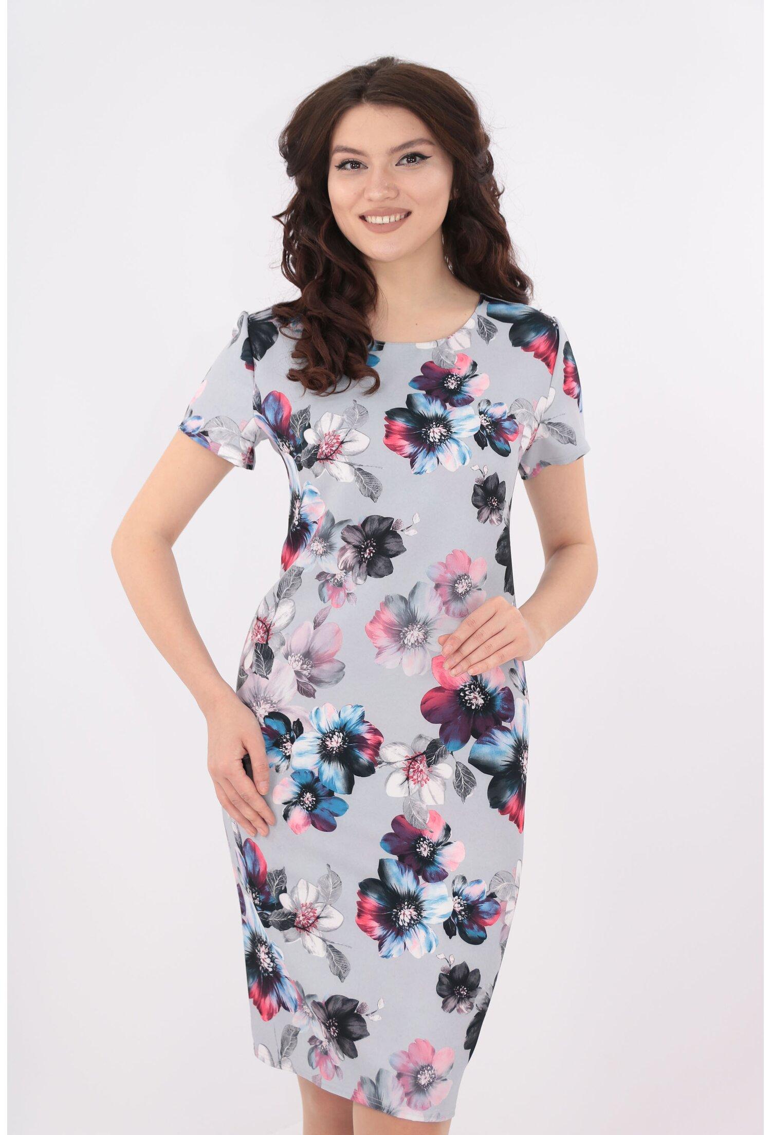 Rochie dreapta gri cu print floral roz-albastru
