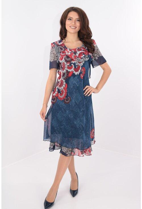 Rochie eleganta din voal bleumarin cu print floral rosu