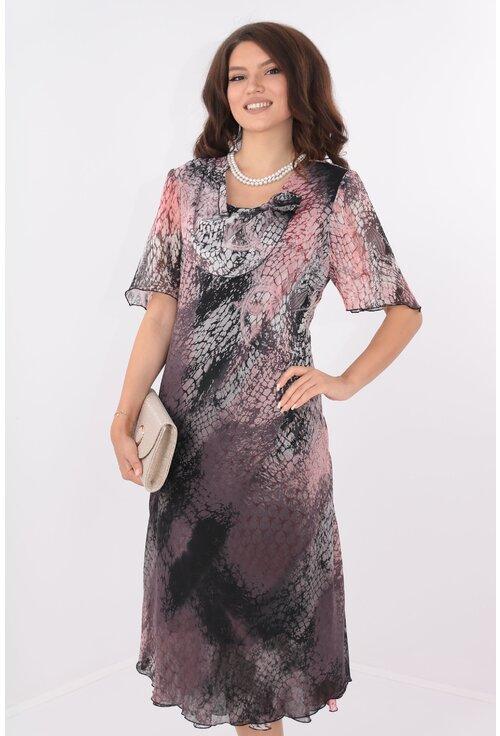 Rochie eleganta din voal imprimat roz