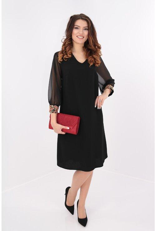 Rochie eleganta din voal negru cu broderie rosie