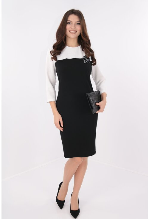 Rochie eleganta negru cu alb