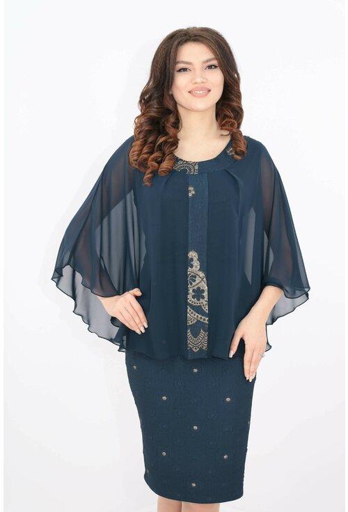 Rochie elganta din brocard bleumarin si pelerina din voal