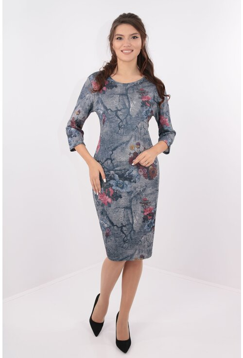 Rochie gri-petrol cu desen floral multicolor