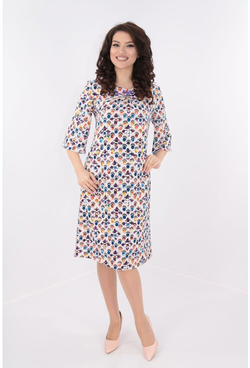 Rochie lejera alba cu buline multicolore