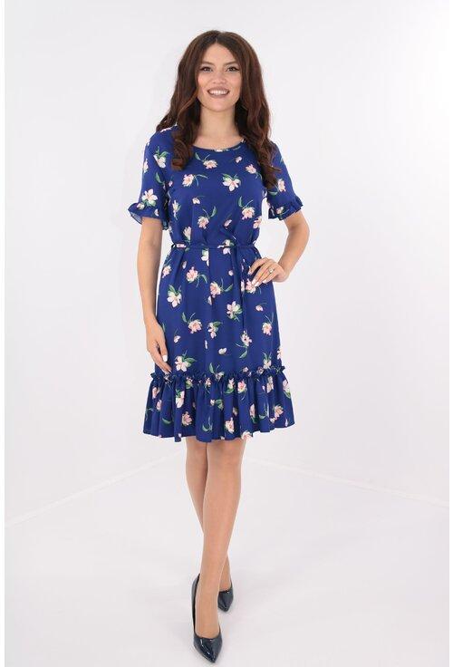 Rochie lejera albastra cu cordon in talie si flori roz