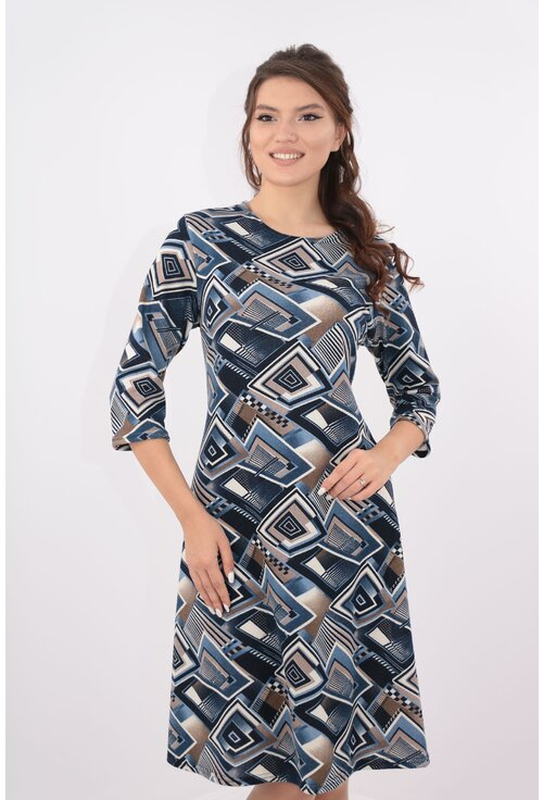 Rochie lejera bleumarin cu desen geometric