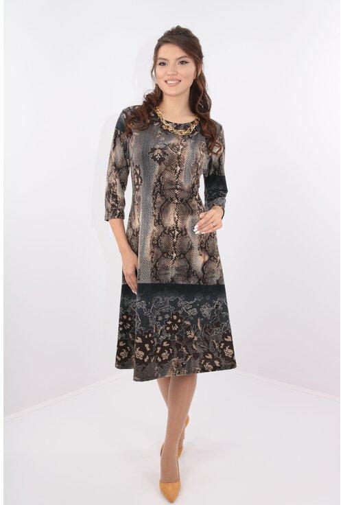 Rochie lejera cu print abstract gri-maro
