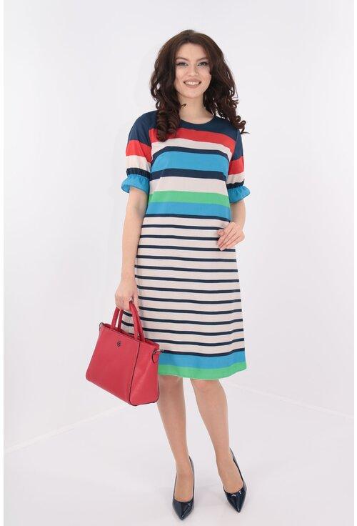 Rochie lejera din bumbac cu dungi multicolore