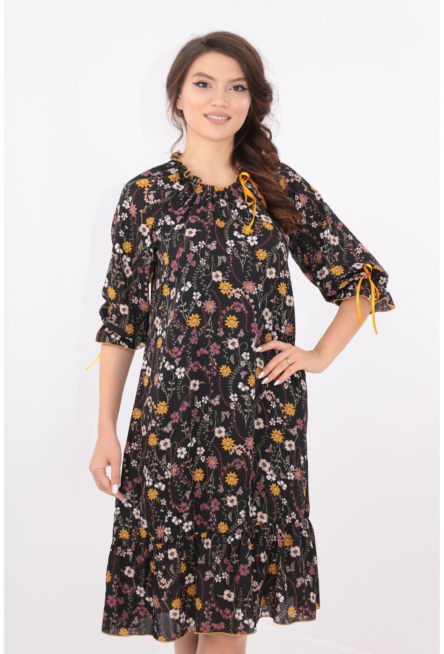 Rochie lejera neagra cu imprimeu floral