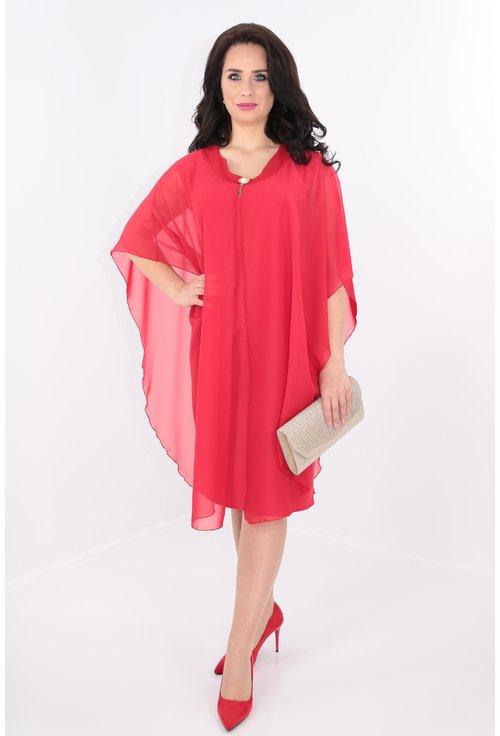 Rochie midi rosie cu pelerina din voal