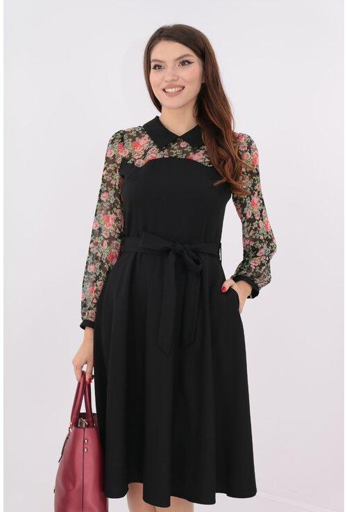 Rochie neagra cu cordon in talie si voal cu print floral