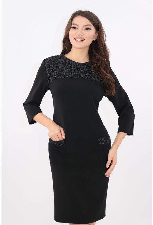 Rochie neagra cu platca cu motive catifelate