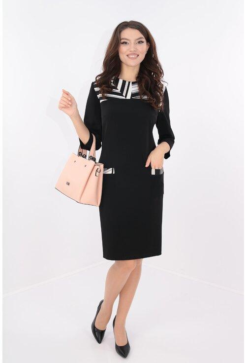 Rochie neagra cu platca din stofa alba cu desen negru