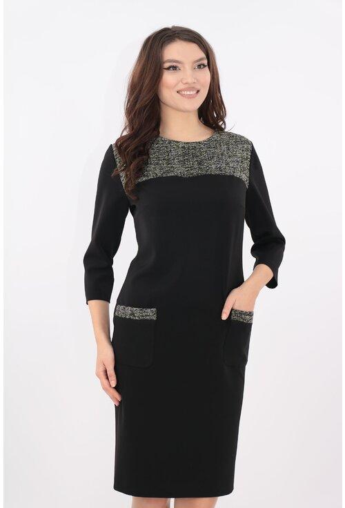 Rochie neagra cu platca din stofa bucle olive