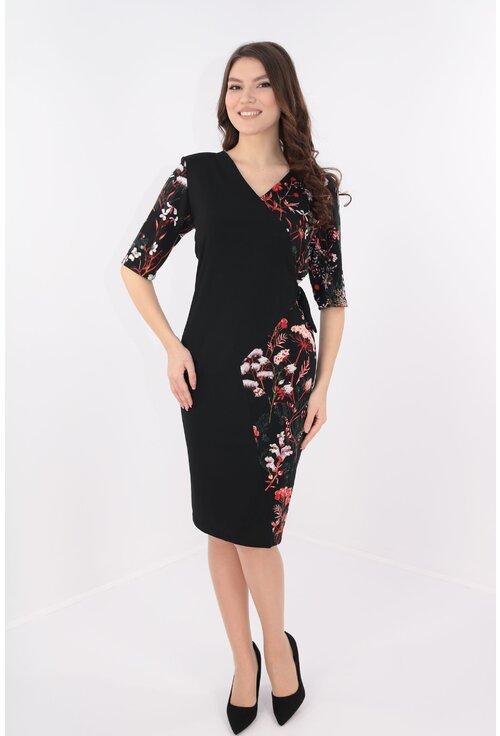 Rochie neagra cu print floral si aspect suprapus