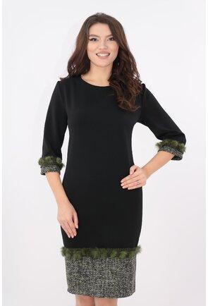 Rochie neagra cu tiv din stofa bucle si blanita olive