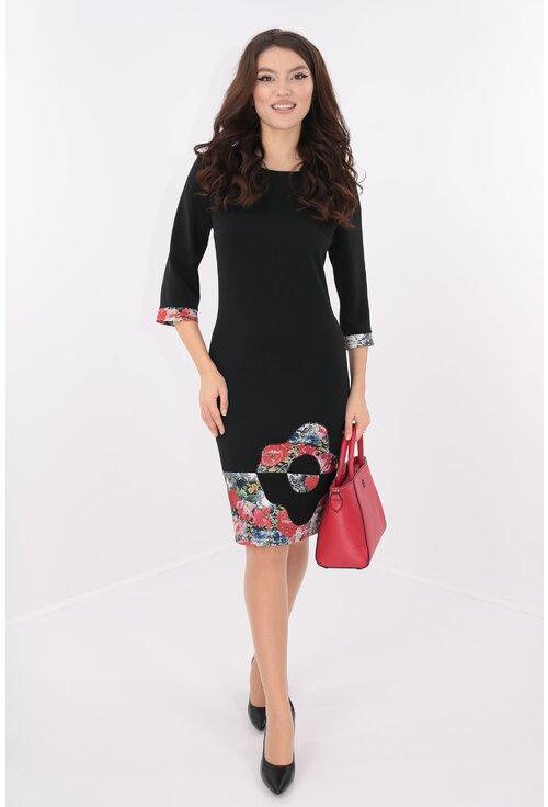 Rochie neagra cu tiv floral rosu si floare maxi