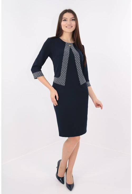 Rochie office bleumarin cu garnitura model abstract alb