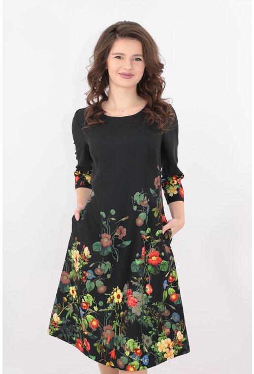 Rochie office neagra cu bordura florala multicolora