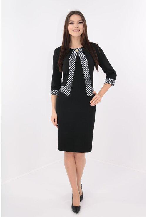 Rochie office neagra cu garnitura model geometric