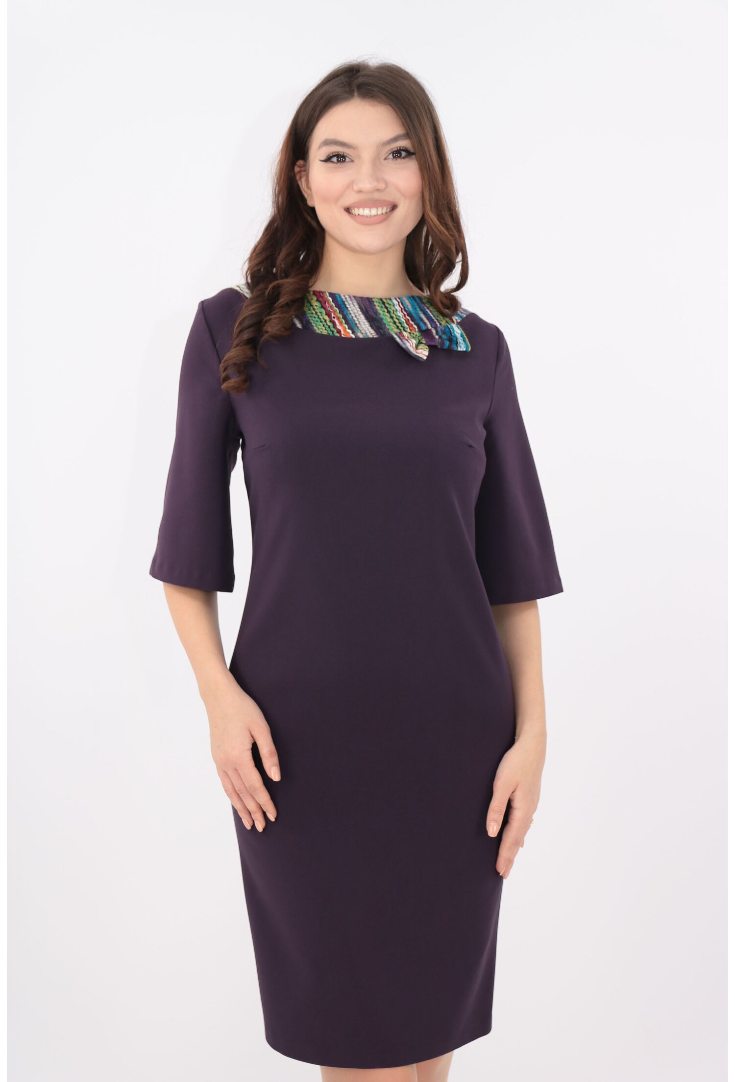Rochie office violet cu garnituri multicolore