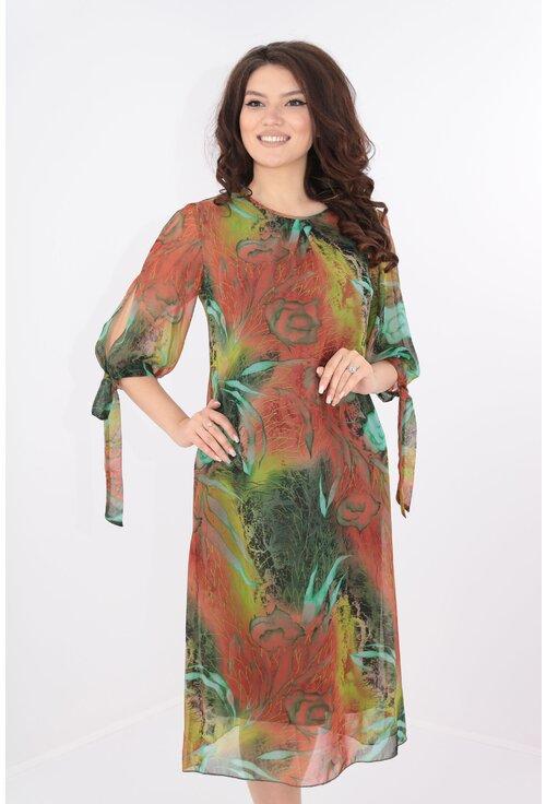 Rochie vaporoasa din voal caramiziu cu print floral