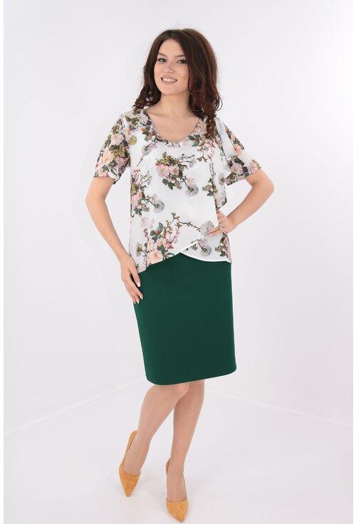 Rochie verde cu voal crem cu print floral