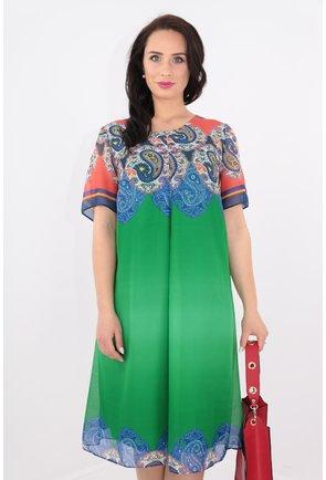 Rochie verde din voal cu bordura multicolora