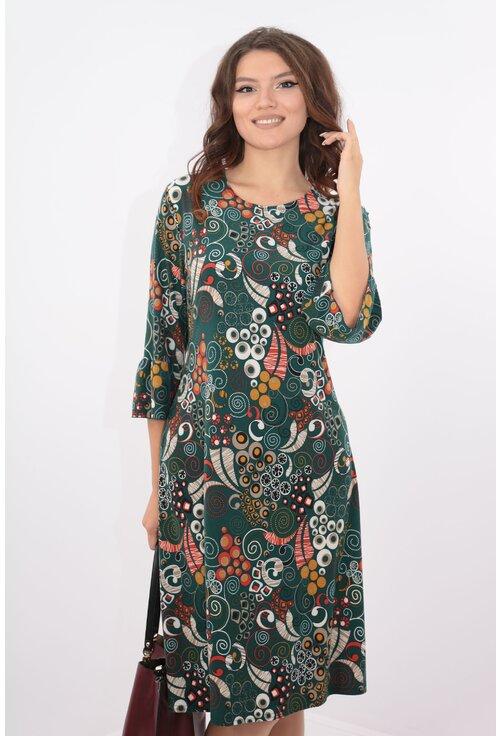 Rochie verde evazata cu desen multicolor