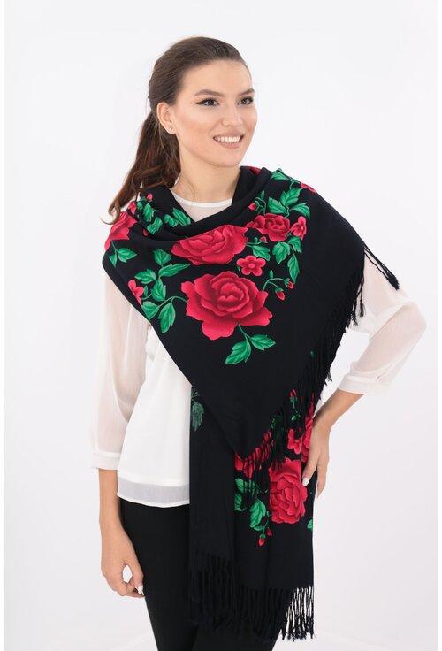 Sal fin negru cu trandafiri rosii si frunze verzi