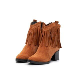 Botine dama cu franjuri din piele naturala - 7309/1 camel velur