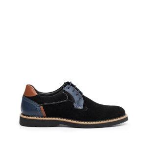 Pantofi barbati casual din piele naturala Leofex - 590-1 Negru blue cognac velur+box