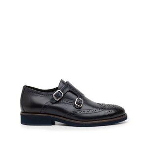 Pantofi barbati eleganti cu 2 catarame Leofex -616 Blue Box
