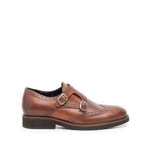 Pantofi barbati eleganti cu 2 catarame Leofex -616 Cognac Box