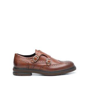 Pantofi barbati eleganti din piele naturala cu catarame,Leofex - 996-1 Cognac Box