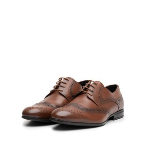 Pantofi barbati eleganti din piele naturala Leofex- 538-2 Cognac Box