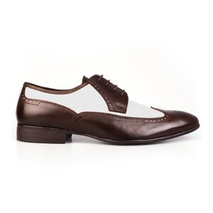 Pantofi barbati eleganti din piele naturala Leofex-Mostra Chaplin Maro cu Alb Box