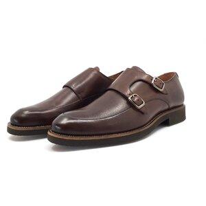 Pantofi casual barbati, cu catarame din piele naturala, Leofex - 576 maro box