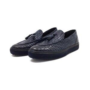 Pantofi casual barbati, cu ciucuri din piele naturala, Leofex - Mostra 558-1 blue box