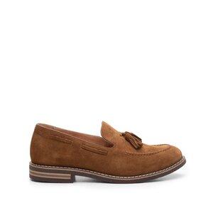 Pantofi casual barbati din piele naturala cu ciucuri, Leofex - 922 Camel Velur