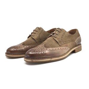 Pantofi casual barbati din piele naturala, Leofex - 514 taupe box+velur