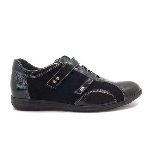 Pantofi casual barbati din piele naturala, Leofex - Mostra Bobby negru lac+velur