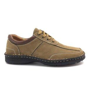 Pantofi casual barbati din piele naturala, Leofex - Mostra Serafim Taupe Nabuc