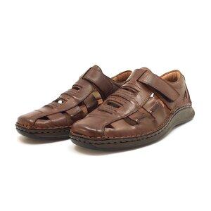 Pantofi casual barbati,perforati din piele naturala, Leofex - 596 cognac box